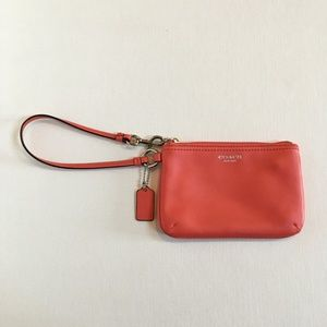 Coach Legacy Leather Small Wristlet Coral